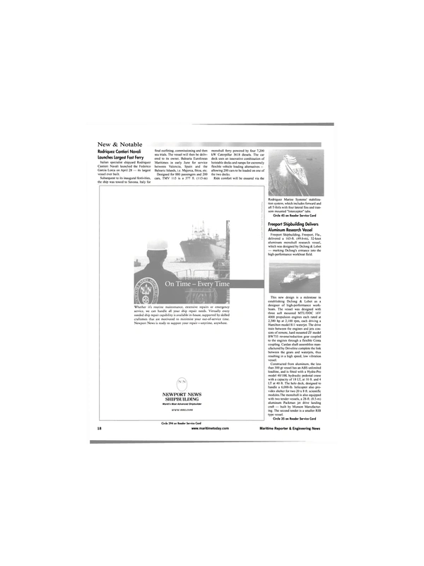 Maritime Reporter Magazine, page 18,  Jun 2001