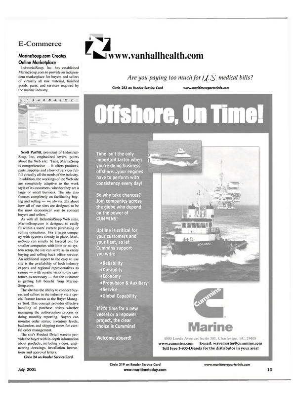 Maritime Reporter Magazine, page 13,  Jul 2001 Online Marketplace IndustrialSoup
