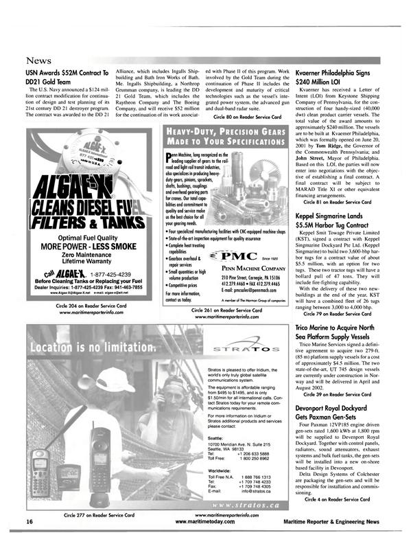 Maritime Reporter Magazine, page 16,  Jul 2001