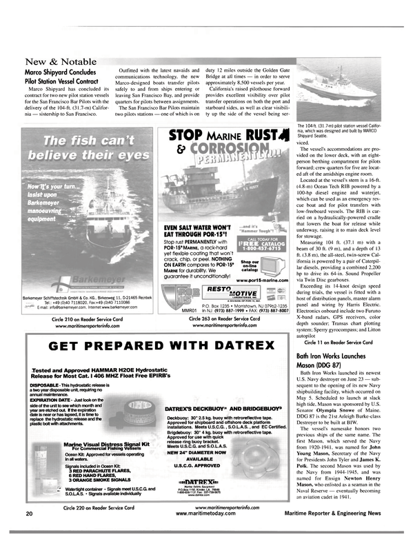 Maritime Reporter Magazine, page 20,  Jul 2001 California