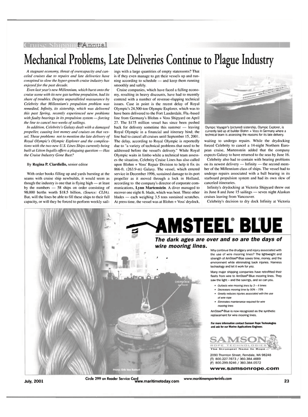 Maritime Reporter Magazine, page 23,  Jul 2001