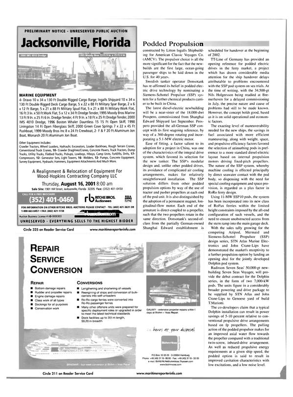 Maritime Reporter Magazine, page 56,  Jul 2001
