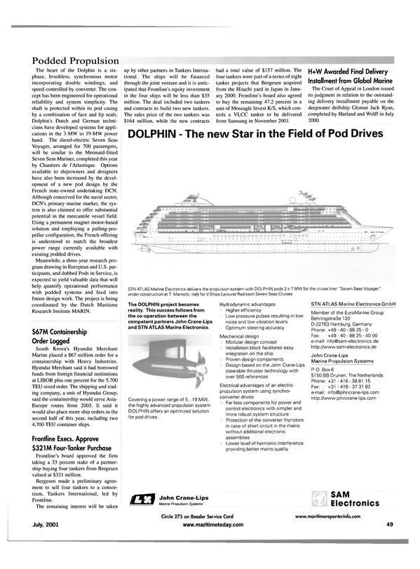 Maritime Reporter Magazine, page 57,  Jul 2001