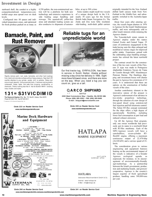 Maritime Reporter Magazine, page 12,  Aug 2001 Israeli Mediterranean