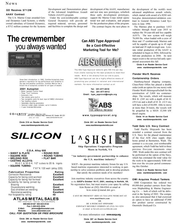 Maritime Reporter Magazine, page 24,  Aug 2001