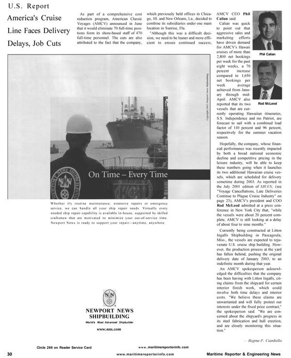 Maritime Reporter Magazine, page 32,  Aug 2001