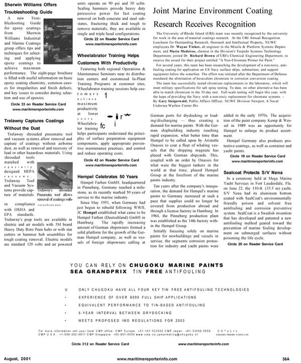 Maritime Reporter Magazine, page 45,  Aug 2001