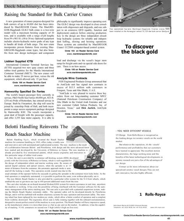 Maritime Reporter Magazine, page 51,  Aug 2001 bulk carrier