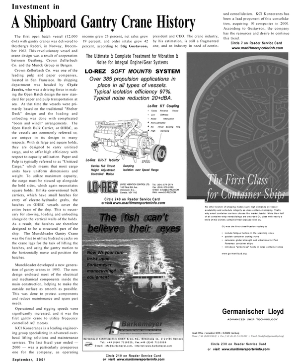 Maritime Reporter Magazine, page 9,  Sep 2001