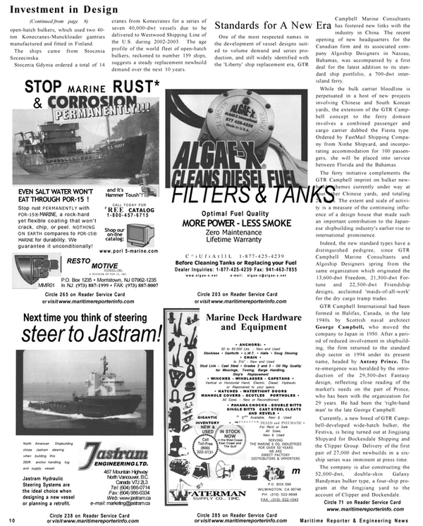 Maritime Reporter Magazine, page 10,  Sep 2001