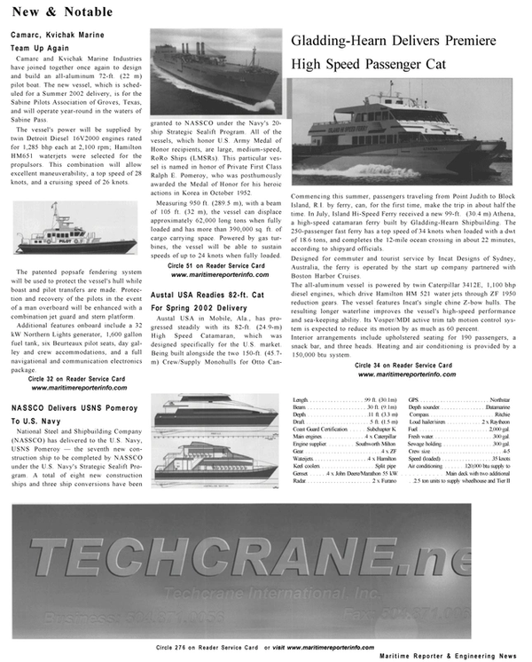 Maritime Reporter Magazine, page 12,  Sep 2001