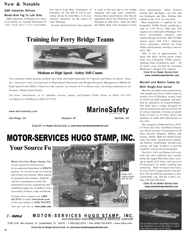 Maritime Reporter Magazine, page 14,  Sep 2001