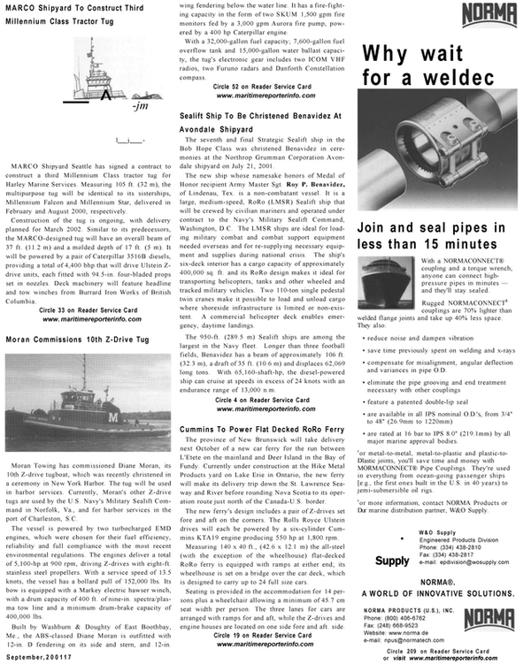 Maritime Reporter Magazine, page 15,  Sep 2001