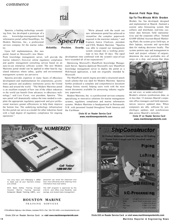 Maritime Reporter Magazine, page 18,  Sep 2001