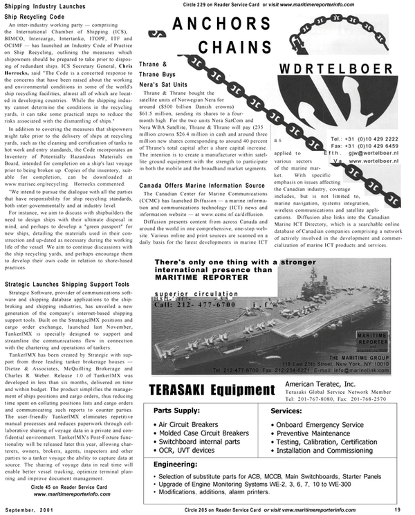 Maritime Reporter Magazine, page 19,  Sep 2001