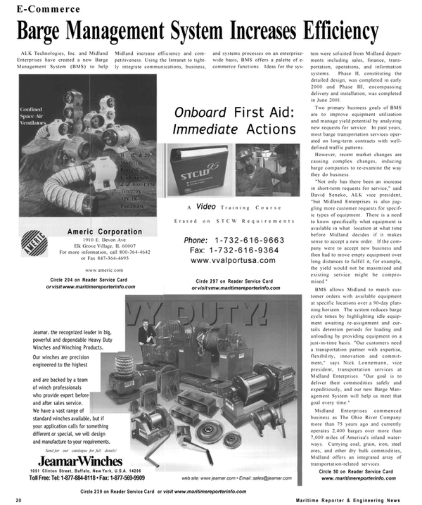 Maritime Reporter Magazine, page 20,  Sep 2001