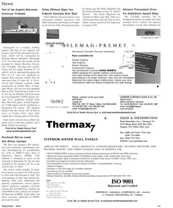 Maritime Reporter Magazine, page 21,  Sep 2001