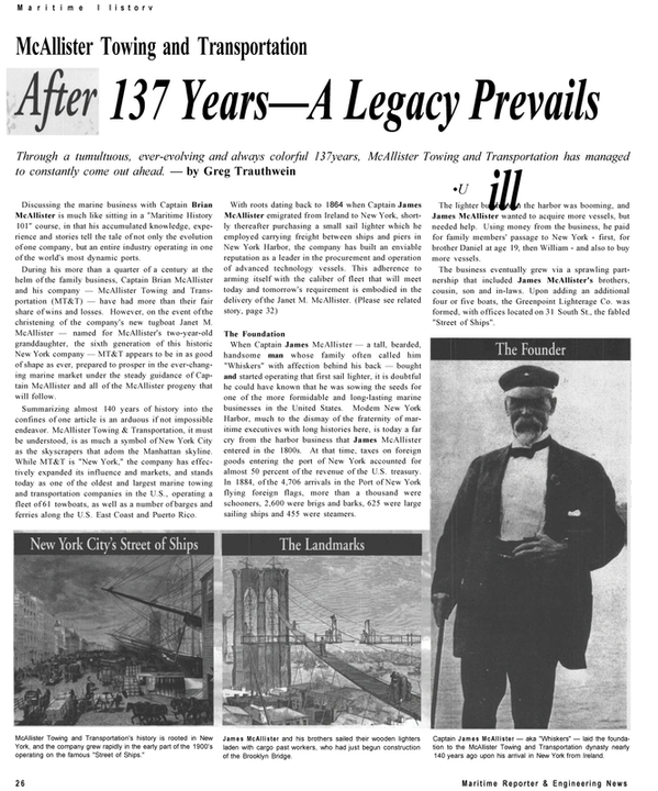 Maritime Reporter Magazine, page 26,  Sep 2001 JANET M. MCALLISTER