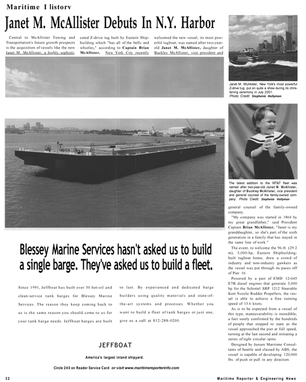 Maritime Reporter Magazine, page 32,  Sep 2001