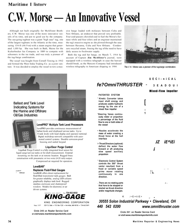 Maritime Reporter Magazine, page 34,  Sep 2001