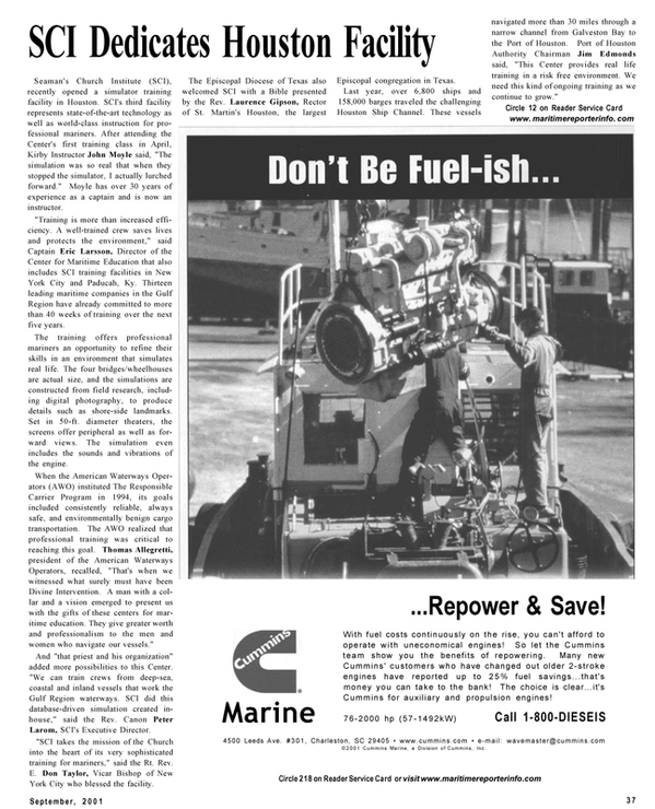 Maritime Reporter Magazine, page 37,  Sep 2001