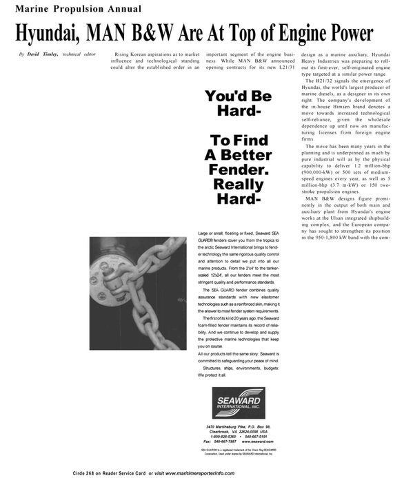 Maritime Reporter Magazine, page 40,  Sep 2001