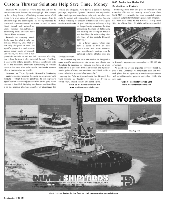 Maritime Reporter Magazine, page 49,  Sep 2001