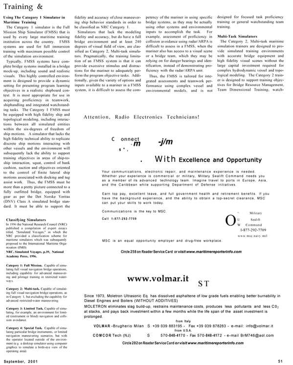 Maritime Reporter Magazine, page 51,  Sep 2001