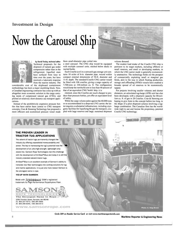 Maritime Reporter Magazine, page 8,  Oct 2001 Washington