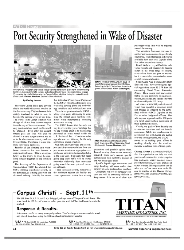Maritime Reporter Magazine, page 12,  Oct 2001 Texas