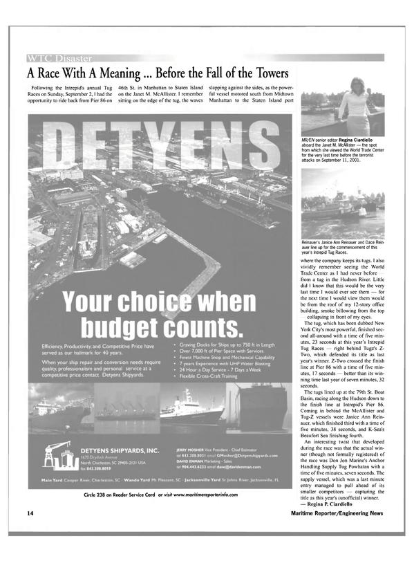 Maritime Reporter Magazine, page 14,  Oct 2001 Janice Ann Rein