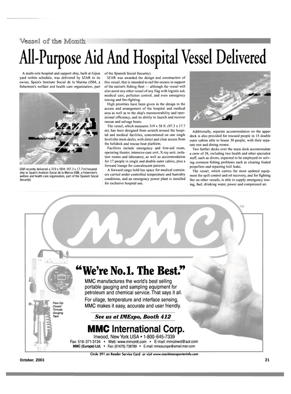 Maritime Reporter Magazine, page 21,  Oct 2001