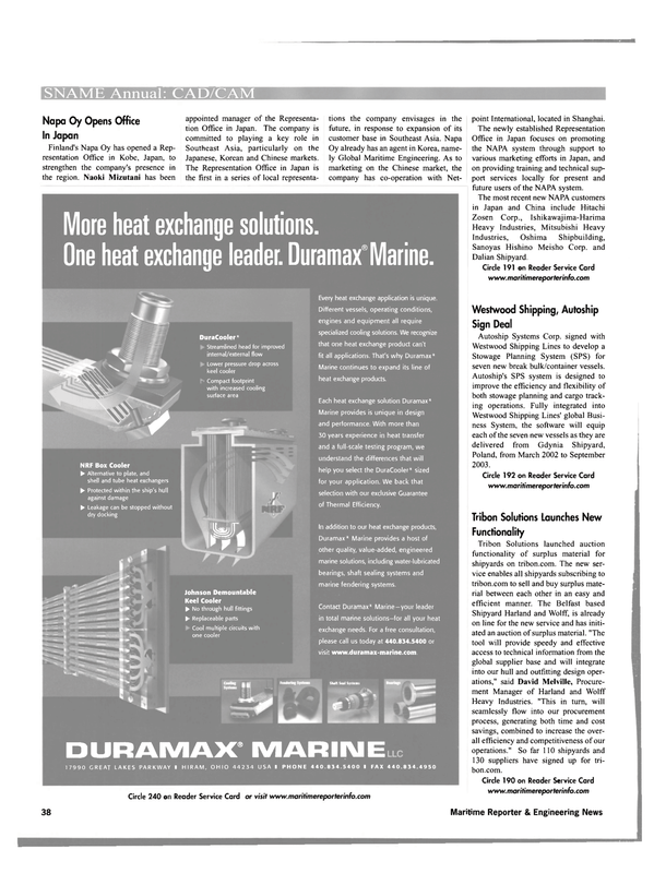 Maritime Reporter Magazine, page 38,  Oct 2001