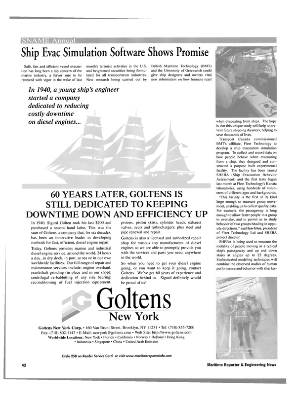 Maritime Reporter Magazine, page 42,  Oct 2001