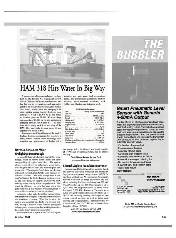 Maritime Reporter Magazine, page 47,  Oct 2001