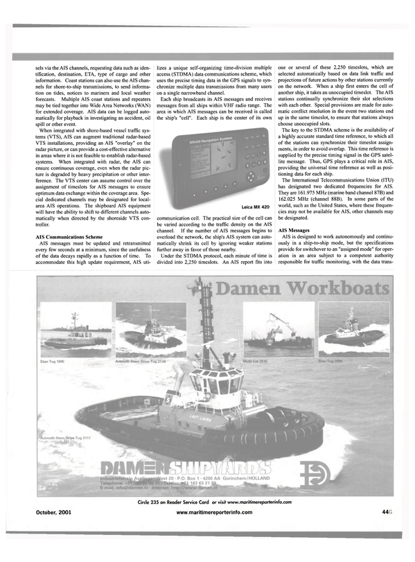 Maritime Reporter Magazine, page 51,  Oct 2001 AIS channel