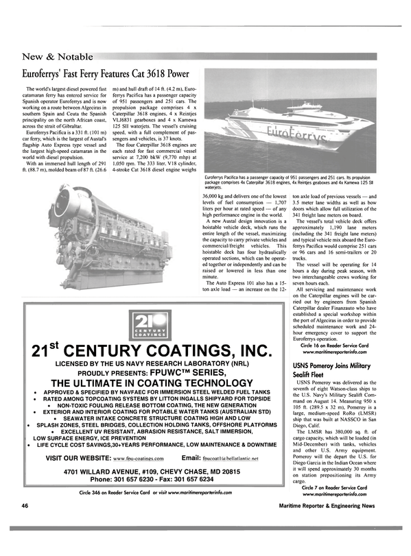 Maritime Reporter Magazine, page 54,  Oct 2001