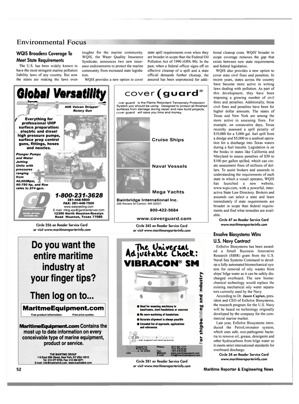 Maritime Reporter Magazine, page 60,  Oct 2001