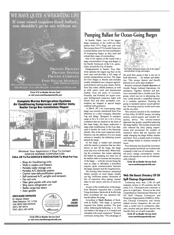 Maritime Reporter Magazine, page 62,  Oct 2001 Washington