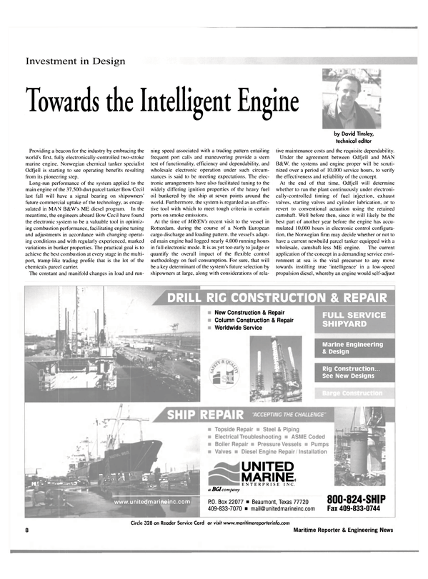 Maritime Reporter Magazine, page 8,  Nov 2001 Repair Column Construction & Repair Worldwide Service FULL SERVICE