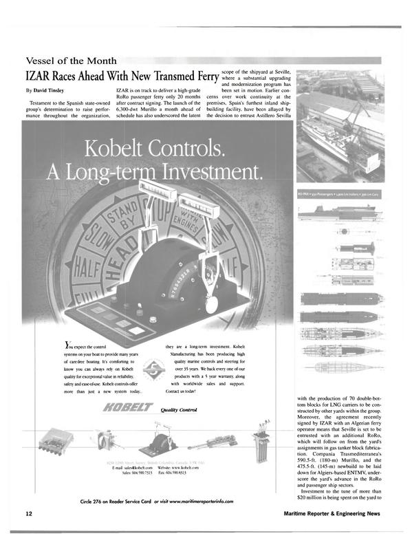Maritime Reporter Magazine, page 12,  Nov 2001