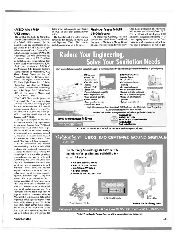 Maritime Reporter Magazine, page 19,  Nov 2001