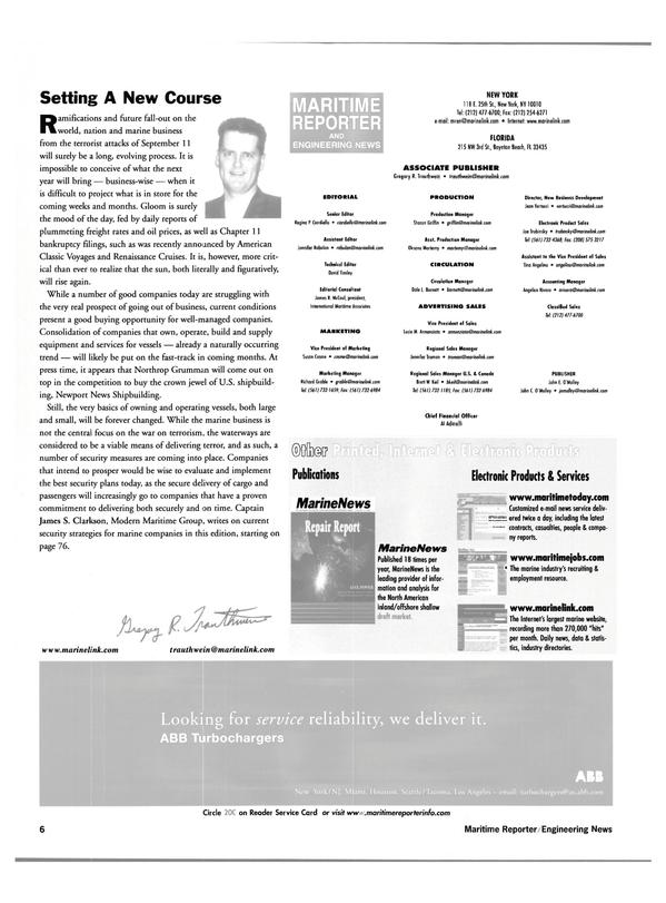 Maritime Reporter Magazine, page 6,  Nov 2001