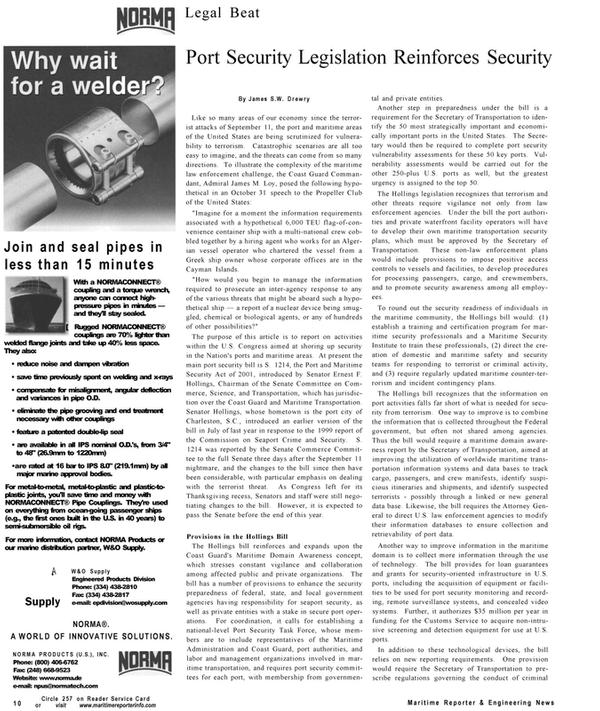 Maritime Reporter Magazine, page 10,  Dec 2001 Maritime Security Institute