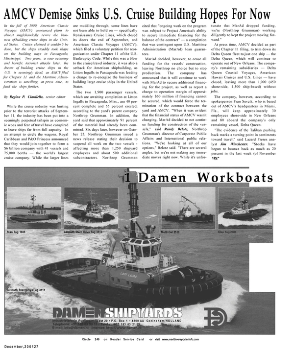 Maritime Reporter Magazine, page 25,  Dec 2001