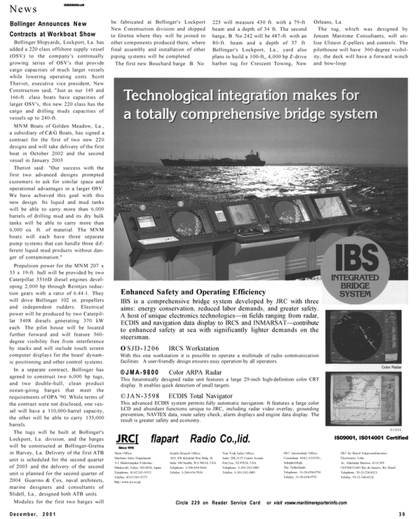 Maritime Reporter Magazine, page 39,  Dec 2001