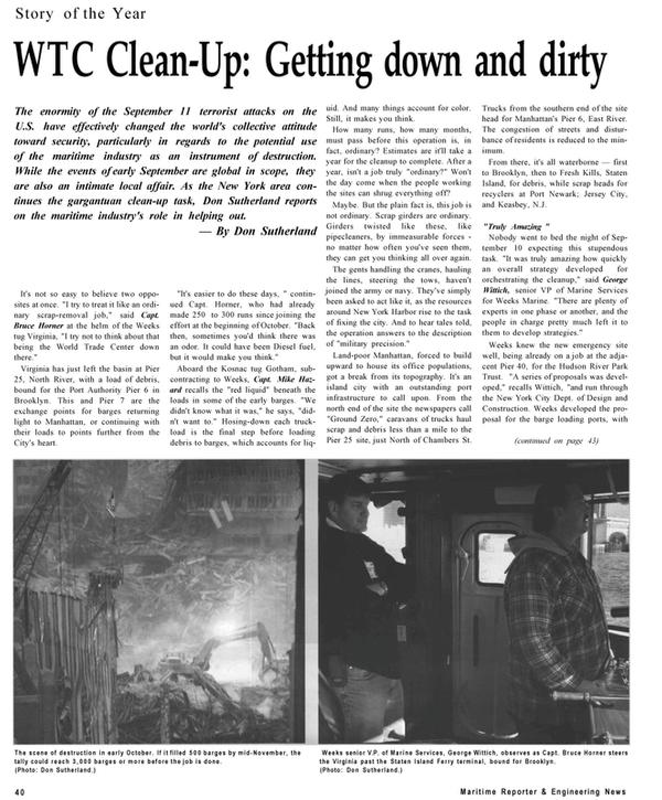 Maritime Reporter Magazine, page 40,  Dec 2001 North River