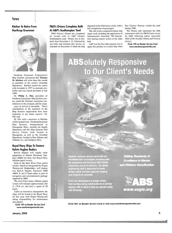 Maritime Reporter Magazine, page 8,  Jan 2002 Norway