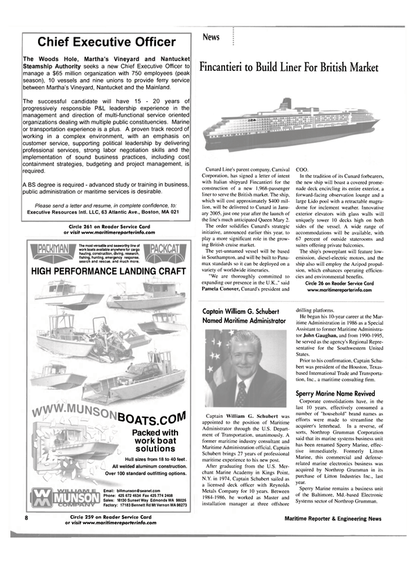 Maritime Reporter Magazine, page 11,  Jan 2002 Maryland