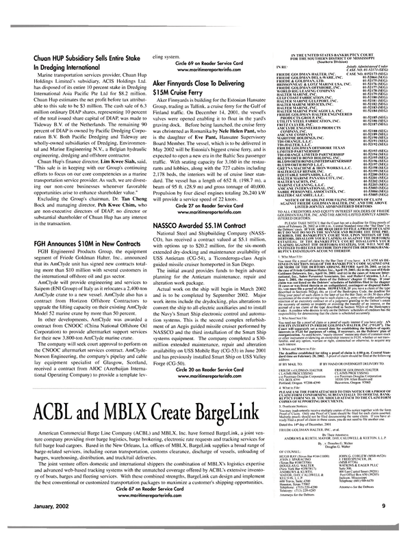 Maritime Reporter Magazine, page 12,  Jan 2002 J. FRED SPENCER